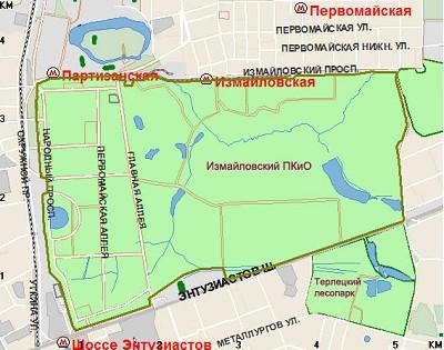 Измайловский парк на карте