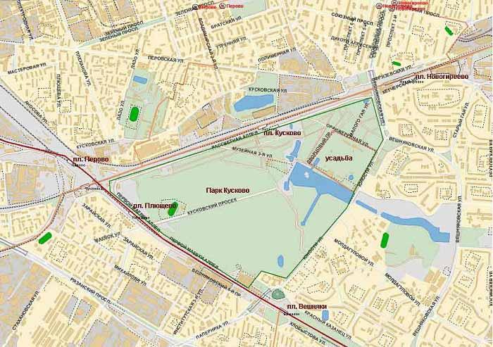 Парк Кусково на карте Москвы