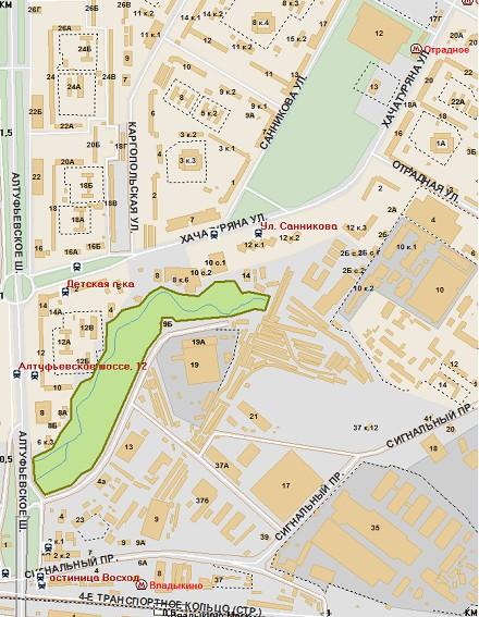 Парк Отрада на карте