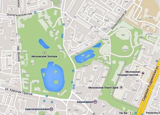Московский зоопарк на карте